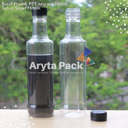 Botol plastik minuman 350ml marjan kecil tutup hitam