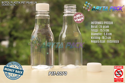 Botol plastik minuman 250ml pear tutup segel natural