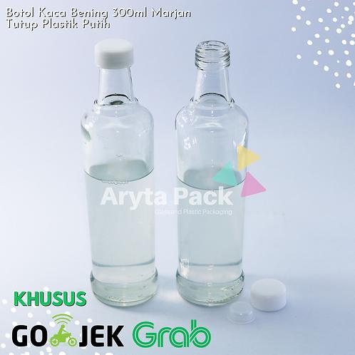 Botol kaca bening 300ml marjan second tutup plastik putih/hitam