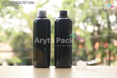 Botol plastik PET Joni 250ml hitam tutup flip top natural