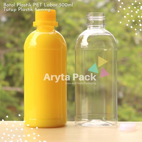 Botol plastik PET 500ml labor tutup segel kuning