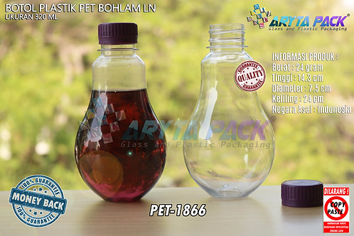 Botol plastik minuman bohlam 320ml tutup tinggi ungu segel