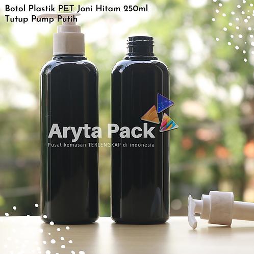 Botol plastik PET 250ml Joni hitam tutup pump putih susu