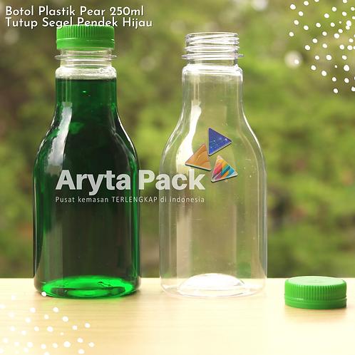 Botol plastik minuman 250ml pear tutup segel pendek hijau