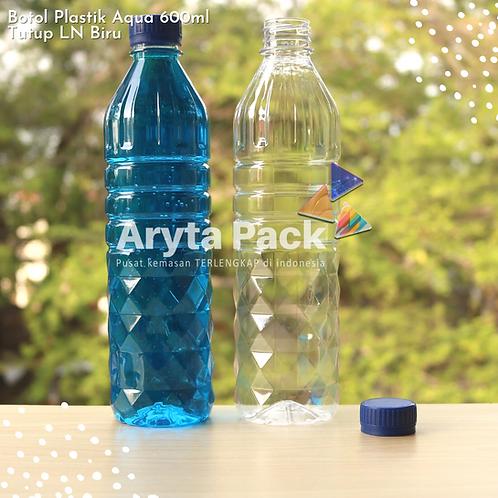 Botol plastik pet 600ml aqua tutup segel biru