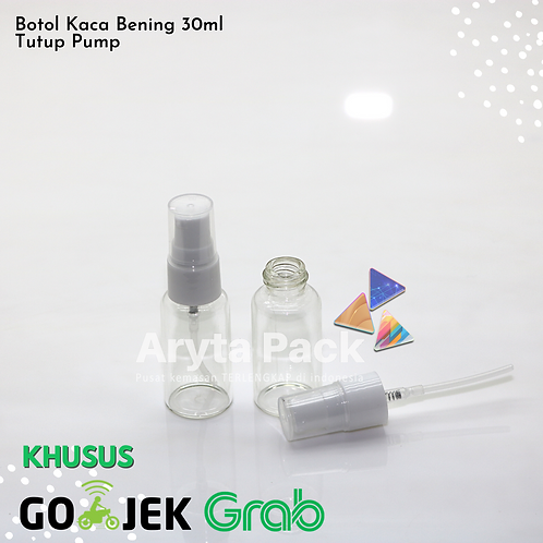 Botol kaca bening 30ml new tutup pump