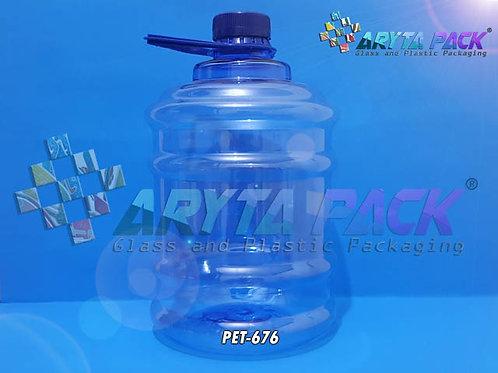 Galon plastik PET 2 liter biru tutup ulir segel