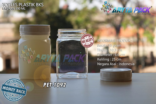 Toples plastik PET 300ml BKS tutup putih