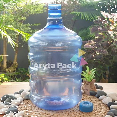 Galon plastik PET 11 liter biru tutup dop