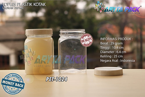 Toples plastik PET 350ml kotak tutup putih