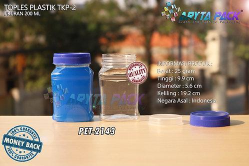 Toples plastik PET 200ml TKP-2 tutup biru