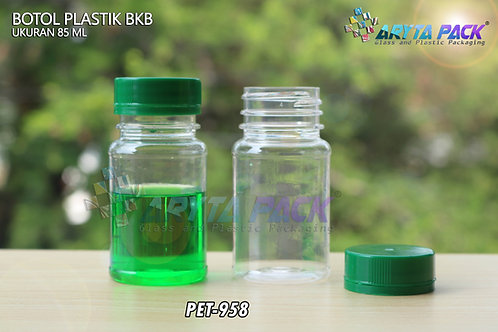 Botol plastik minuman 85ml BKB tutup segel hijau