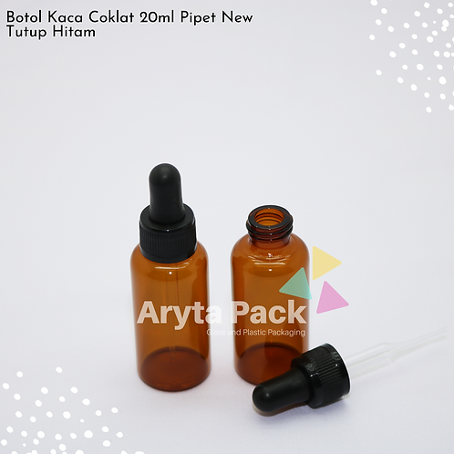 Botol kaca coklat 20ml new tutup pipet hitam