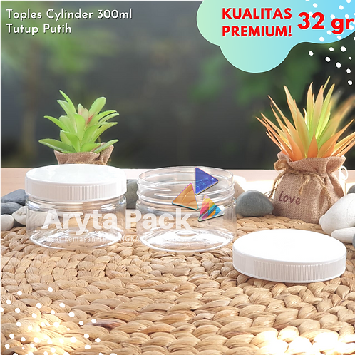TOPLES PLASTIK PET 300ML JAR CYLINDER TABUNG TUTUP ULIR
