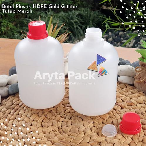 Botol plastik HDPE 1 liter gold G tutup merah