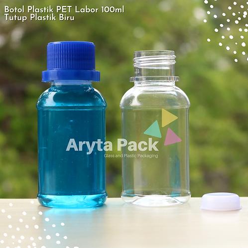 Botol plastik PET 100ml labor tutup segel biru