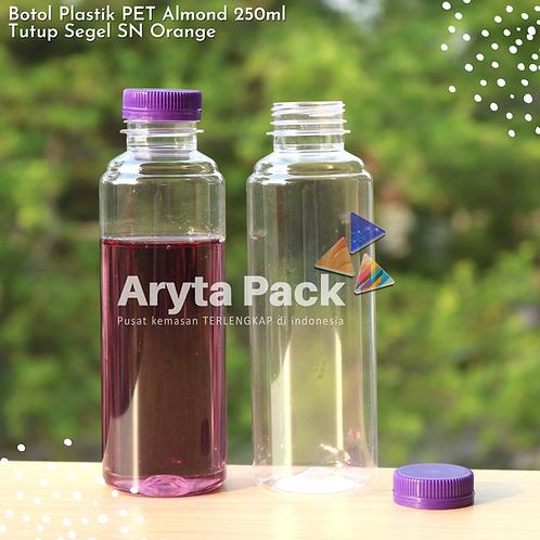 Botol plastik minuman 250ml almond tutup segel ungu