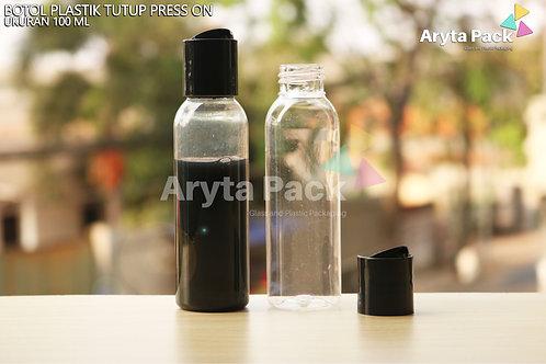 Botol plastik PET Lena 100ml  natural tutup press on hitam