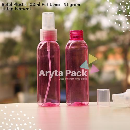 Botol plastik PET Lena pink 100ml tutup spray natural