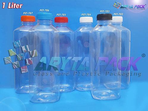 Botol plastik minuman 1 Liter kale kotak 1Liter tutup hitam