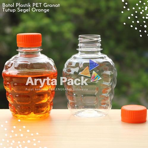 Botol plastik pet 250ml granat c tutup segel orange