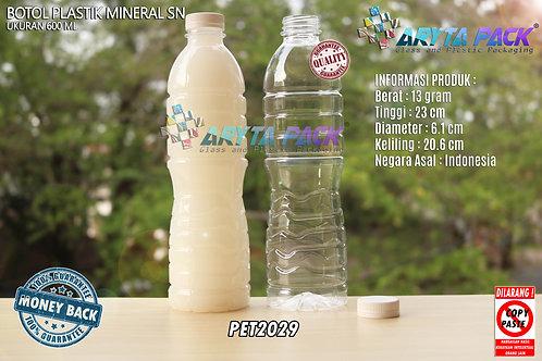 Botol plastik pet 600ml aqua tutup segel pendek putih