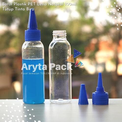 Botol plastik PET 100ml Lena tutup tinta biru