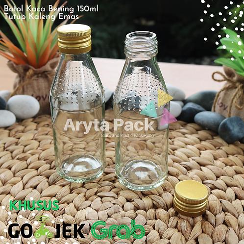 Botol kaca bening 150ml second tutup emas kaleng