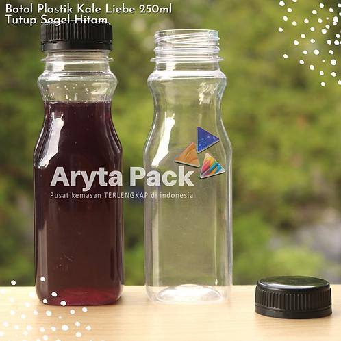 Botol plastik minuman 250ml jus kale liebe tutup segel hitam