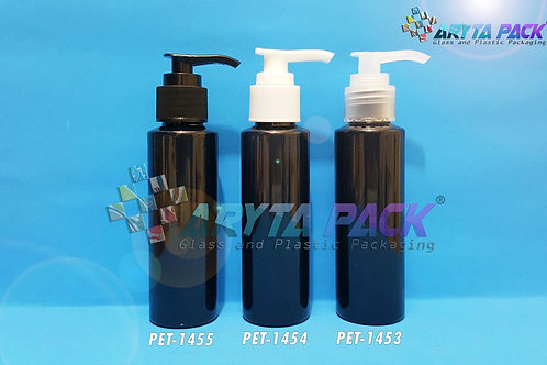 Botol plastik PET 100ml Lena siku hitam tutup pump natural