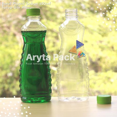 Botol plastik minuman 450ml sabun cair tutup ulir hijau