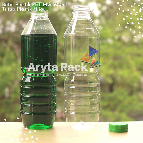 Botol plastik minuman 500ml mg tutup segel hijau