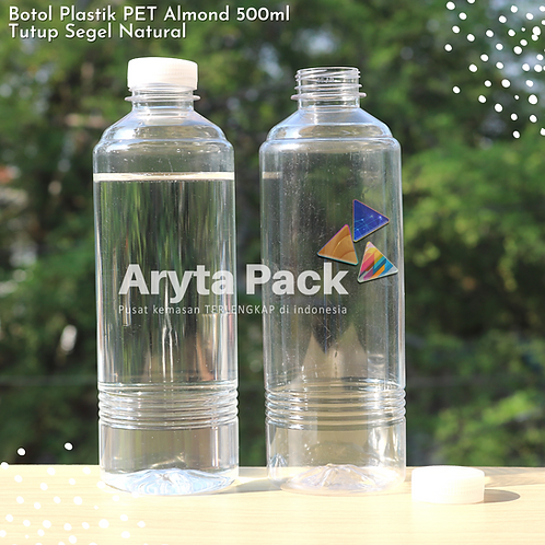 Botol plastik minuman 500ml almond tutup segel natural