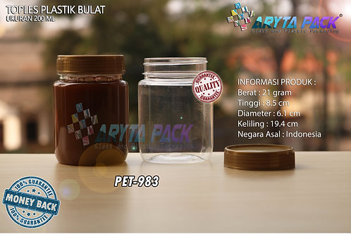 Toples plastik PET 200ml selai bulat tutup gold