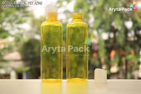 Botol plastik PET Joni 250ml kuning tutup press on natural