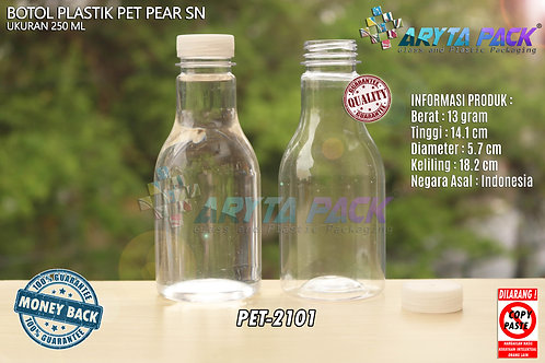 Botol plastik minuman 250ml pear tutup segel pendek natural