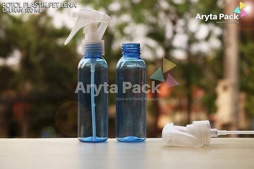 Botol plastik PET 100ml Lena biru tutup spray pistol natural
