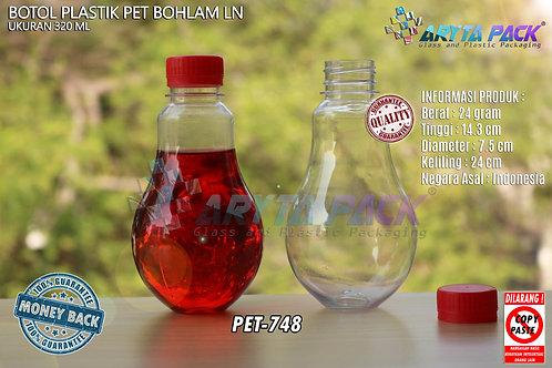 Botol plastik minuman bohlam 320ml tutup tinggi merah segel