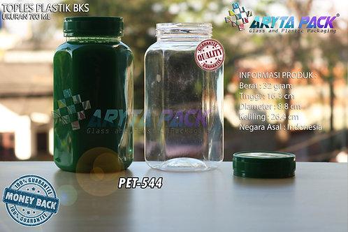Toples plastik PET 700ml BKS tutup hijau