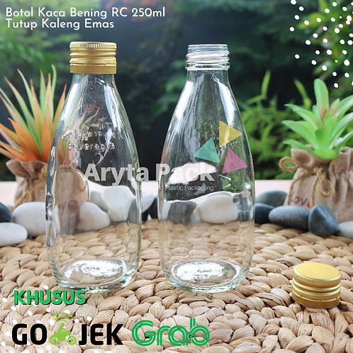 Botol kaca bening 250ml RC second tutup emas kaleng