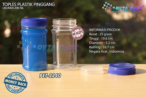 Toples plastik PET 200ml pinggang tutup biru