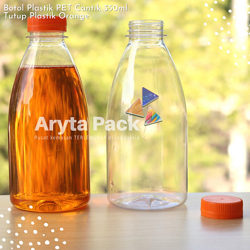 Botol plastik minuman cantik 350ml tutup segel orange