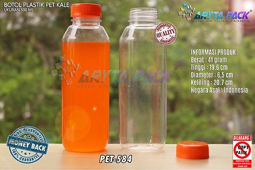 Botol plastik minuman 500ml jus kale tutup orange segel
