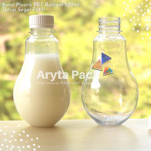 Botol plastik minuman bohlam 320ml tutup tinggi putih segel
