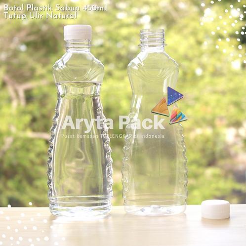 Botol plastik minuman 450ml sabun cair tutup ulir natural