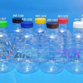 Botol plastik PET 250ml Granat B tutup segel orange