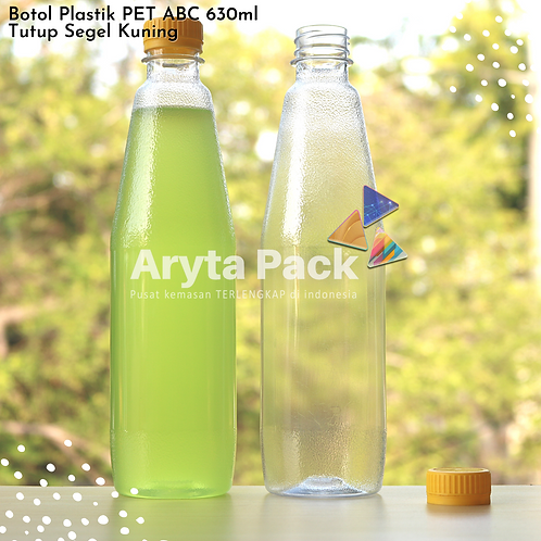 Botol plastik minuman 630ml ABC tutup segel kuning