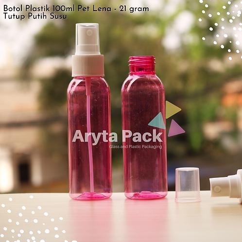 Botol plastik PET Lena pink 100ml tutup spray putih susu