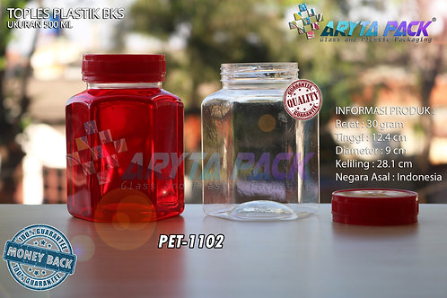Toples plastik PET 500ml BKS tutup merah