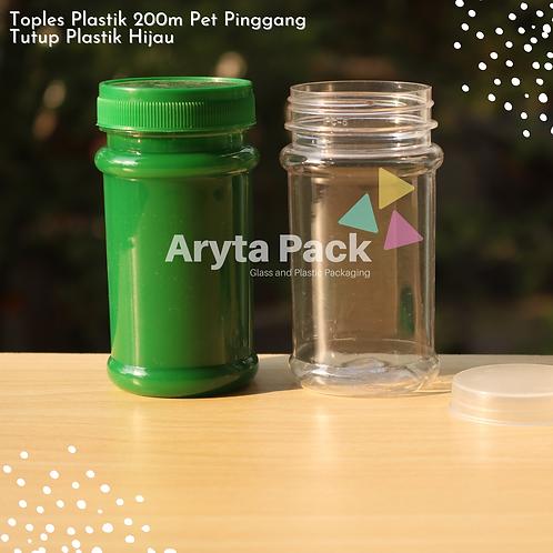 Toples plastik PET 200ml pinggang tutup hijau